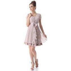 12e7639b6eb3 Béžové krátké Společenské šaty s rukávkem šifonové pro svatební matky