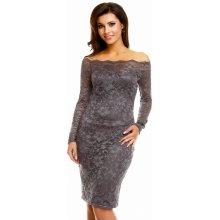 Mayaadi dámské společenské šaty krajkové s dlouhým rukávem krátké tmavě šedá 7b2efca75e