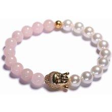 Lavaliere dámský korálkový náramek růženín a bílé shell perly Buddha 03001