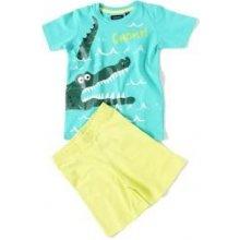 BLUE SEVEN set: dětské tričko a kraťasy KROKODÝL Tyrkys 827013 tyrkysová
