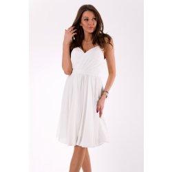 6152a29ff4a Eva   Lola dámské společenské šaty na ramínka středně dlouhé bílá dámské  šaty