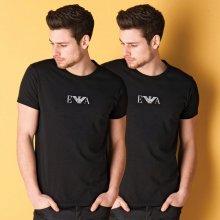 Armani Mens 2 Pack T Shirt Black