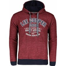 Lee Cooper Textured AOP OTH Hoody Mens Burgundy