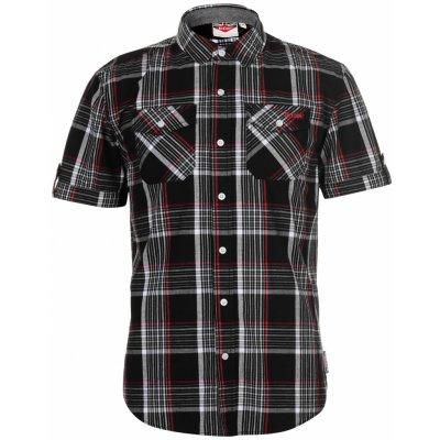 Lee Cooper SS Check Shirt Mens Black White Red