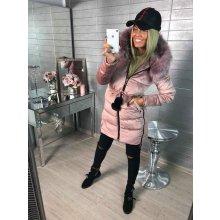 Luxusní zimní kabátek s bambulkami a kožíškem pink