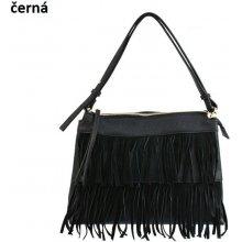 E&V kožená kabelka se střapci černá