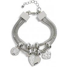 Guess náramek Silver-Tone Mesh Charm Bracelet P377415122A