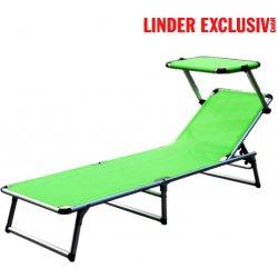 Lehátko Plážové zahradní skládací lehátko 3 U-nohy, se stínítkem sluneční clona - limetkově zelené