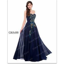 Grace Karin společenské šaty s pavími péry CL6168-5 modrá ... fd009f8b49