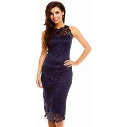 a103af8f629 MAYAADI krajkové středně dlouhé společenské šaty bez rukávu Deluxe 261 tmavě  modrá