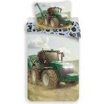 Jerry Fabrics povlečení bavlna fototisk Traktor green 140x200 70x90