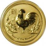 Lunární Zlatá investiční mince Year of the Rooster Rok Kohouta 1 10 Oz 2017