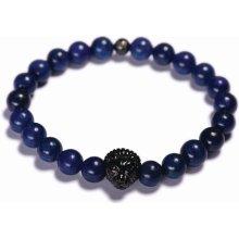 Lavaliere pánský korálkový náramek modrý lapis lazuli lev 07301