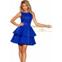 3198e4d88e22 Dámské šaty s krajkovým dekoltem bez rukávů s dvojitou sukní modrá