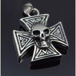 Přívěsek chirurgická ocel, Maltézský kříž s lebkou.-ocpriv74-