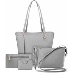 43ad361199 Komplet dámských kabelek 4v1 kabelka shopper bag listonoška dokladová kapsa  šedá