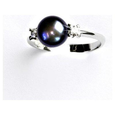 Čištín Zlatý prsten přírodní říční perla černá bílé zlato T 1207