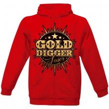 RamirezCZ pánská mikina na zip s potiskem Gold Digger Ramirez pánské Červená 85b87df5e7