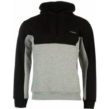 Donnay Quarter Zip Hoody Mens Black/Grey