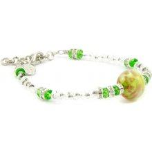 Murano náramek skleněné korálky zelený Idra muránské sklo 100020211