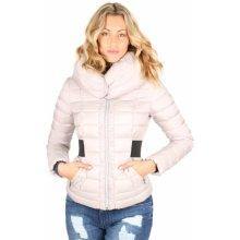 Guess dámská zimní světle šedá bunda s širokým límcem