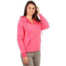 Glara Dámská mikina na zip s potiskem růžová 87665 df0779845d