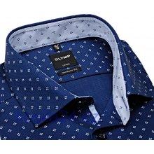 Olymp Luxor Modern Fit – tmavě modrá košile s bílým vzorem a inverzním vnitřním límcem