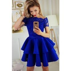 Dámské společenské krátké šaty s dvojitou sukní modrá plesové šaty ... ad69c25b20
