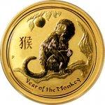 Lunární 2016 Zlatá investiční mince Year of the Monkey Rok Opice 1 2 Oz