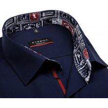 Eterna Modern Fit – tmavomodrá košile s vnitřním límcem s anglickými motivy  - extra prodloužený rukáv 06163e1b00