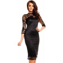 4e72e894647 MAYAADI společenské šaty krajkové s dlouhým rukávem středně dlouhé černá