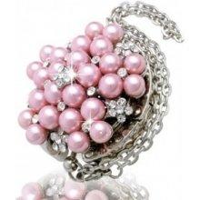 Háček na kabelku - Perly 3D - růžové