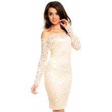 d3e0488b7d9 Mayaadi dámské společenské šaty krajkové s dlouhým rukávem krátké krémová