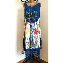 930485025176 Indické šaty ruční batika Motýl květy třásně modrá