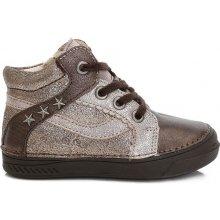 D.D.step Dívčí kotníkové boty s hvězdičkami - hnědé f8ac8902be