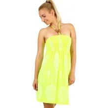 27ea4c228af2 TopMode dámské plážové šaty ukně se zavazováním za krk neon žlutá