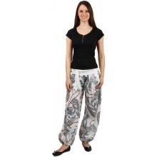 e505142d9a8 Glara Stylové volné kalhoty se zajímavým vzorem bílá