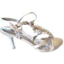 Plesové střevíčky-společenská obuv stříbrné