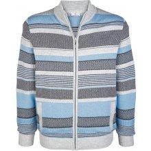 Pletený svetr Boston Park modrá/šedá proužky