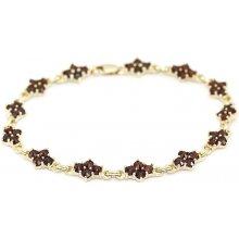 Náramek zlatý granátový Au585 063