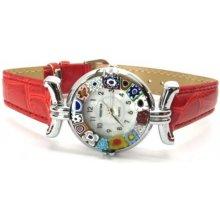 Murano s koženým páskem červené Venice 200002023