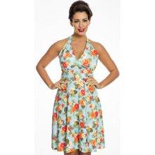 89e64deabe9 Lindy Bop květované šaty za krk Margo