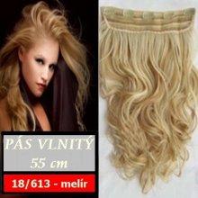 Clip in vlasy, 55 cm dlouhý pás vlasů - vlnitý, odstín 18/613 - melír