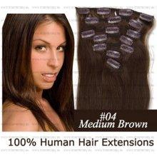 CLIP IN (klipy) pravé lidské vlasy remy 45cm odstín 04 středně hnědá 7 částí 70g