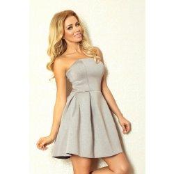 Numoco dámské společenské a plesové šaty korzetové Gorzet 823 se sklady na  sukni krátké šedá f5f54b676a