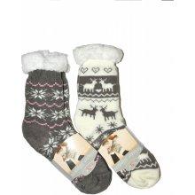 RiSocks dámské ponožky Winter Slippers Hvězdičky art.2983 ABS růžová.šedá 88cba081b0