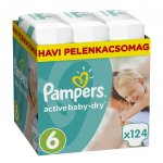 Pampers Active Baby-Dry 6 Extra Large 15+ kg 124 ks