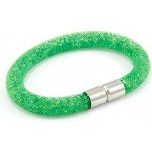 Murano náramek dutinka s krystalky z broušeného skla sytě zelená Tubo Conteria 10000543902