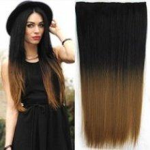 Clip in vlasy - 60 cm dlouhý pás vlasů - ombre styl 1b/27