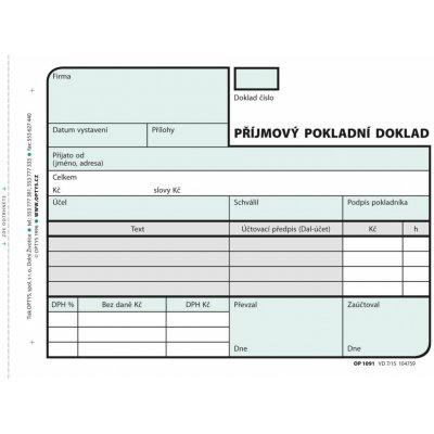 Optys 1091 Příjmový pokladní doklad A6 samopropisovací 2x50 listů